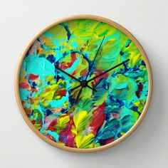 A LITTLE OF THIS - Bright Colorful Rainbow Swirls Abstract Acrylic Textural Design Ocean Waves Beach Splash Neon Vibrant Painting Circles Bubbles Pattern Magenta Lime Acid Green Royal Blue Turquoise Cerulean Sunshine Yellow Crimson Wild Fun Fine Art Decorative Gift Modern Home Decor Cheerful Wall Clock by EbiEmporium - $30.00