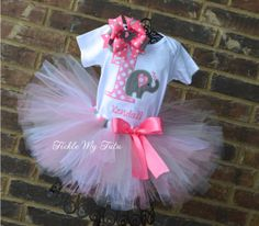 Pink and Gray Elephant Birthday Tutu Outfit by TickleMyTutu, $54.95