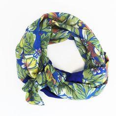 Floral Blue Silk Headband