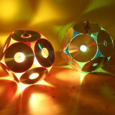 Lampshades From Old Cd's is part of Recycled crafts Lamp - Dodecahedron CD light (Barcelona by Bernat Capellades Exhibited at La Braderie du l'Art, Lille 1998 & International Festival of … Recycled Cd Crafts, Old Cd Crafts, Recycled Lamp, Cd Diy, Diy With Cds, Diy Crafts With Cds, Cd Recycling, Art Cd, Cd Decor