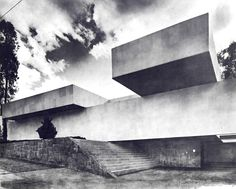 Fachada principal, Casa en Lomas, Monte Ararat esq. Sierra Gorda, Lomas de Chapultepec, México DF 1968   Arq. Manuel González Rul