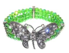 Butterfly-Bracelet-Green-Glass-Bead-and-Crystal-stretchable-MOTHERS-DAY