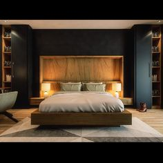 A Luxurious Master Bed Room design for one of our private clients in Lake View – New Cairo using bold black color to give the space an elegant style. Wardrobe Design Bedroom, Bedroom Bed Design, Bedroom Furniture Design, Modern Bedroom Design, Bedroom Sets, Home Bedroom, Bedroom Decor, Bedding Sets, Industrial Bedroom Design