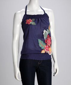 Take a look at this Indigo Flower Halter Top by Willow & Clay on #zulily today!