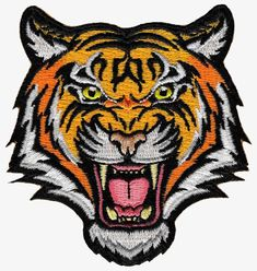 Tiger Patch Embroidered Iron-On Applique Roaring Bengal Striped Souvenir: This brand new embroidered patch shows a fierce looking wild roaring tiger. Heat-seal backing allows buyer to iron this patch onto virtually any fabric. Cool Patches, Biker Patches, Pin And Patches, Sew On Patches, Iron On Patches, Iron On Embroidered Patches, Embroidery Patches, Iron On Applique, Embroidery Patterns