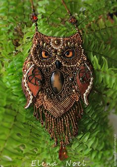 Fabulous owl - Embroidered Japanese beaded, freshwater pearls and Swarovski pearls (swarovski) , and amber, decorated with vintage lace, Owl Jewelry, Beaded Jewelry, Beaded Necklace, Owl Necklace, Necklaces, Jewellery, Owl Crafts, Bead Crafts, Bead Embroidery Jewelry