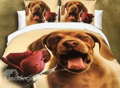 Adorable Dog and Rose Print 4-Piece Polyester Duvet Cover #bedding #bedroom