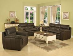 Sala de Estar Living Room Colors, Living Room Sets, Living Room Furniture, Leather Sofa Set, Leather Loveseat, Sala Chocolate, Painted Couch, Dinner Room, Living Styles