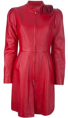VALENTINO Leather Zip Up Coat