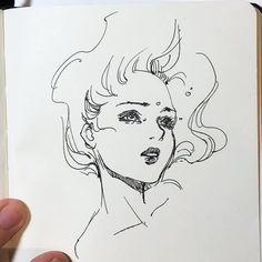 """Drowning"" Some min no-pencil pen sketching. This is a reupload, but it's… Kunst Inspo, Art Inspo, Art And Illustration, Art Drawings Sketches, Cool Drawings, Desenhos Halloween, Art Visage, Arte Sketchbook, Pen Sketch"