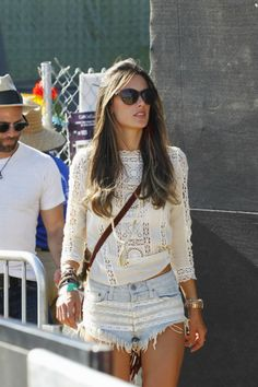 Boho...Cool denim shorts + white lace jersey