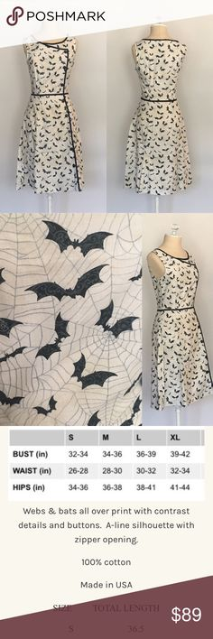 Bats & Webs Dress 🖼See picture for description and size chart.         🚫 I do not trade.      .                                        ❌ ALL AVAILABLE SIZES LISTED- no modeling                                                                    👗Modcloth is listed for exposure: Brand is Retrolicious or Folter.                 🌻💐Instagram: lovelyinlilacofficial ModCloth Dresses
