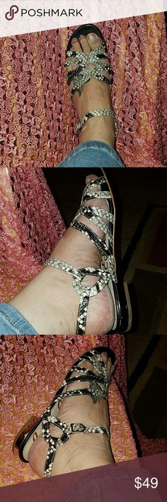 Sam Edelman snakeskin sandals Cute, elegant snakeskin sandals,gold heels ,excellent condition Sam Edelman Shoes Sandals