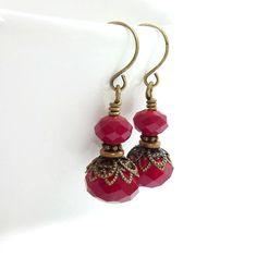 Ruby Red Earrings  Vintage Style Drop by RockStoneTreasures, $34.00