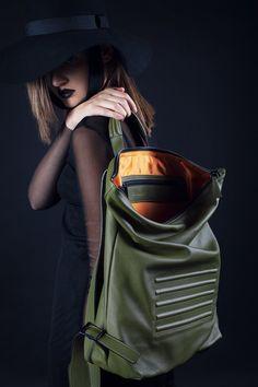 "Olive green, minimal, unisex big backpack - rucksack. Zip fastener, inside pocket, 100% Italian leather. Perfectly fits 15"" Macbook, made in Europe."