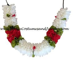 www.DanceCostumesAndJewelry.com - Cloth Flower Super soft White with Red Roses, $ 2.20 (http://www.dancecostumesandjewelry.com/cloth-flower-super-soft-white-with-red-roses/)