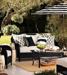 part of the dream black and white outdoor space trees and yard included please black and white patio furniture