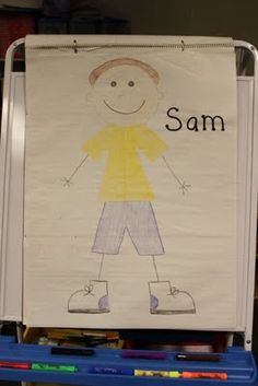 This is Sam! Class thinks of things that would hurt Sam's feelings, and everytime they do, they crumble a piece of Sam. After Sam is completely crumbled up, the class attempts to smooth out the paper that Sam is drawn on, but find it difficult to do so, thus illustrating the effect that hurtful words have on others.