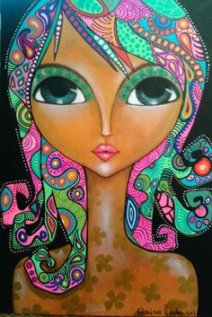 Hippie Art, Arte Popular, Indigenous Art, Art Journal Inspiration, Whimsical Art, Big Eyes, Face Art, Doodle Art, Watercolor Art
