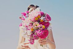 Bold big pink bouquet. Boom. Photo by Our Labor of Love.