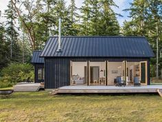 Designed by Prentiss Balance Wickline Architects, this modern cabin offers views of the Olympic Mountains, on the Hood Canal, Washington. Shed Homes, Village Houses, Cob Houses, House And Home Magazine, Home Fashion, Modern House Design, Cabana, Modern Architecture, Sustainable Architecture