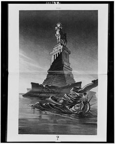 [Statue of Liberty floating in bay and statue of cow, wearing crown and collar with $ sign, standing on Liberty's pedestal]