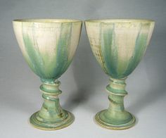 Ceramics by John Calver at Studiopottery.co.uk - <b>Pair of Round Goblets</b>, 19cms tall.<br>Post and packing extra.