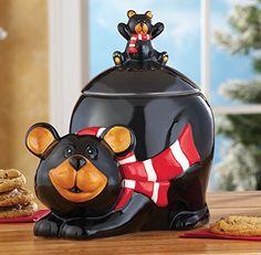 # 98542 Kitchen Northwoods Bear Cookie Jar Decor by sensationaltreasures Bear Cookies, Cute Cookies, Kinds Of Cookies, Cookies Et Biscuits, Mountain Cabin Decor, Black Bear Decor, Glass Cookie Jars, Christmas Cookie Jars, Vintage Cookies