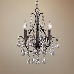 Castlewood Walnut Silver Finish 3-Light Mini Chandelier | LampsPlus.com-thinking about replacing the old brass fixture in my hall bathroom with this.