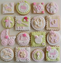 Custom Baby Shower Cookies - A new option to to patterned materials and décor are strong colors. Fancy Cookies, Sweet Cookies, Iced Cookies, Cute Cookies, Sugar Cookies, Fondant Cookies, Galletas Cookies, Cupcake Cookies, Cupcake Toppers