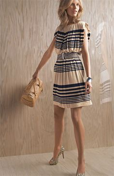 Stripe Jersey Blouson Dress, Suzi Chin for Maggy Boutique #stripe #navy #dress #style #fashion