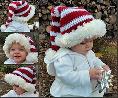Crochet Baby Hats Ready for Santa by Jenn Wolfe Kaiser - Christmas Hats for Newborn to Adult - Free Crochet Patterns - striped stocking caps, Santa Hats, Rudolph the Red-Nosed Reindeer, Bumble, and more. Crochet Santa Hat, Crochet Christmas Hats, Christmas Crochet Patterns, Holiday Crochet, Crochet Baby Hats, Crochet Gifts, Crochet For Kids, Free Crochet, Ravelry Crochet
