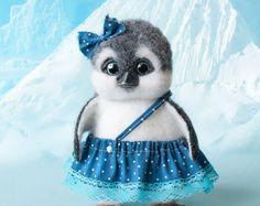 OOAK felted penguin Dasha-handmade toy- needle felt sculpture-penguin miniature-artist doll