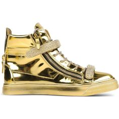 Giuseppe Zanotti Design High-Tops & Trainers ($680) ❤ liked on Polyvore featuring shoes, sneakers, gold, lace up high top sneakers, high top sneakers, zip shoes, zipper sneakers ve flat shoes
