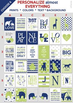 Navy Blue Lime Green White Gray Nursery Wall Art PERSONALIZE Almost Everything, CHOOSE SIX Prints Set, Name Baby Room Decor Play ofcarola