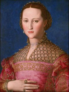 Eleonora of Toledo 1543 by Italian Painter Agnolo Bronzino 1503-1572  http://commons.wikimedia.org/wiki/File:Agnolo_Bronzino_-_Eleonora_of_Toledo_-_Google_Art_Project.jpg