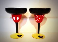Mickey or Minnie Mouse Margarita Glasses on Etsy, $15.00