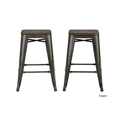 Avenue Greene Fusion 24-inch Metal Backless Counter Stool (Set of 2) (Counter stool, copper, set of 2), Brown