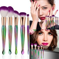 Cheap powder brush set, Buy Quality brush set directly from China make up Suppliers: Hot Sale Luxury Color Mermaid Make Up Brushes Set Women Mermaid Up Brushes Colored Women Cosmetic Powder Brush Set Mermaid Brush Set, Eye Shadow Application, Basic Makeup, Mermaid Makeup, Eyeshadow Brushes, Makeup Brush Set, Beauty Essentials, Makeup Tools, Beauty Makeup