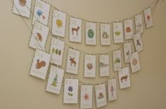 Baby shower decoration: bibs with card stock letters as a banner.
