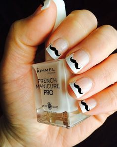 mustache nails with french manicure! Mickey Mouse Nail Art, Minnie Mouse Nails, Disney Mickey, French Manicure Designs, Nail Art Designs, Nail Design, Cute Nails, Pretty Nails, Mustache Nails