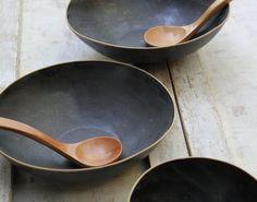 Black salad bowls. #HandmadeCharlotte