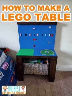 This DIY Lego Table is a simple and easy way to make a LEGO table the kids can build on. With just a few supplies and some time you can make the best homemade LEGO table that the kids will love! Lego Table, Kid Table, Creative Crafts, Diy Crafts, Used Legos, Tool Bench, Lego Base Plates, Do It Yourself Crafts, Child Love