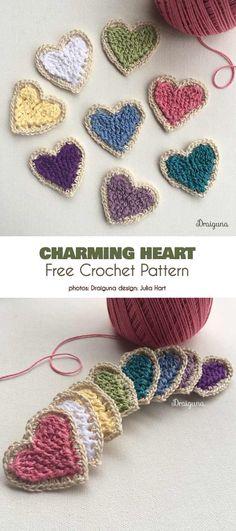 65 New Ideas Crochet Heart Free Pattern Amigurumi Link Beau Crochet, Love Crochet, Crochet Gifts, Crochet For Kids, Beautiful Crochet, Crochet Motifs, Crochet Flower Patterns, Crochet Flowers, Knitting Patterns