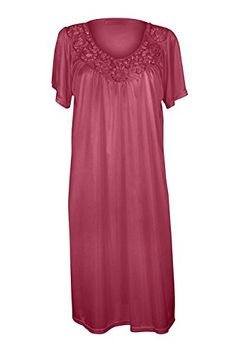 2c5b0ded92 Women s Satin Silk Short Sleeve Fine Sequin Nightgown by EZI at Amazon  Women s Clothing store