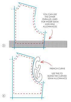 Grading Rulers and French Curves. basic diagrams and instructions for using these tools to mark the seam allowance on your patterns: