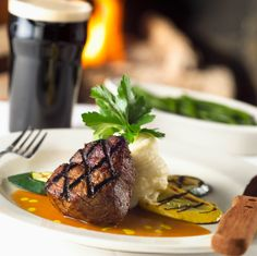 Bone-in rib eye, filet mignon, and other steaks and seafood served in speakeasy-style restaurant that features live country music Filet Mignon Roast, Beef Filet, Usda Prime, Prime Beef, Mammoth Lakes, Dinner For Two, Filets, Food Items, Food Preparation