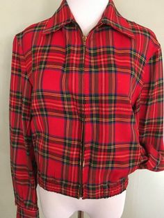 0848a3ec5e056a 1950s Unisex Zero King Sports Apparel Red Plaid by FuturaVintage 1950s Mens  Clothing, King Sport