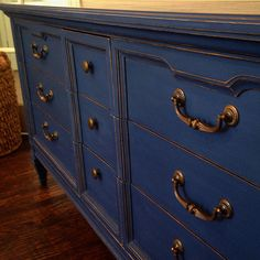 Annie Sloan's Napoleonic Blue with light distressing and clear wax!