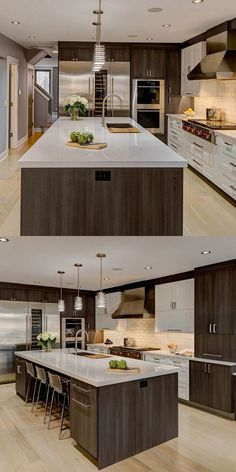 Kitchen Remodel Ideas - Browse our kitchen renovation gallery with traditional to modern to beachy kitchen design inspiration. Kitchen Room Design, Luxury Kitchen Design, Home Decor Kitchen, Interior Design Kitchen, New Kitchen, Kitchen Ideas, Kitchen Designs, Kitchen Inspiration, Kitchen Layout